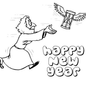 Father Time Chasing Flying Hourglass on New Years Eve Coloring Page