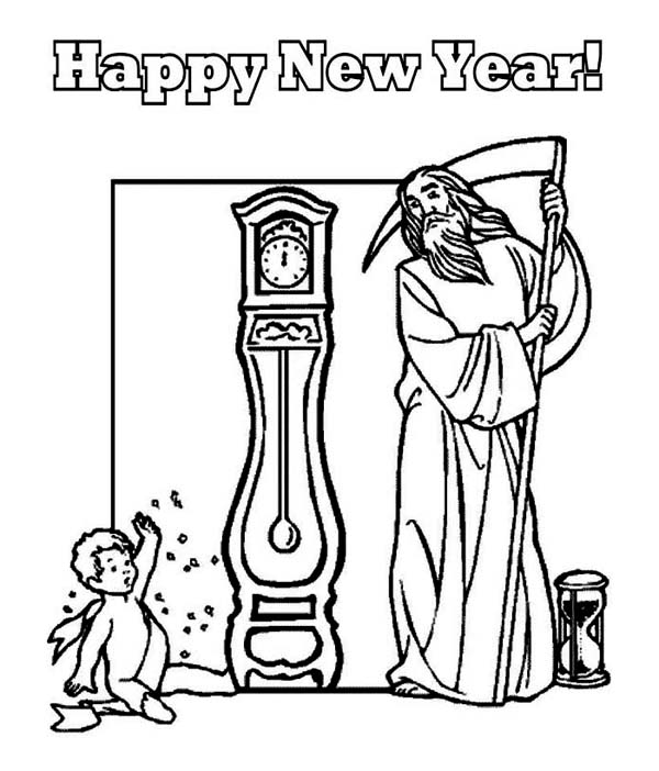 baby new year coloring pages free | Father Time and Baby New Year Says Happy New Year to All ...
