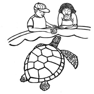 Feeding Sea Turtle Coloring Page
