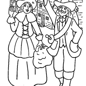 First Pilgrim Settlers Celebrating Thanksgiving Day Coloring Page