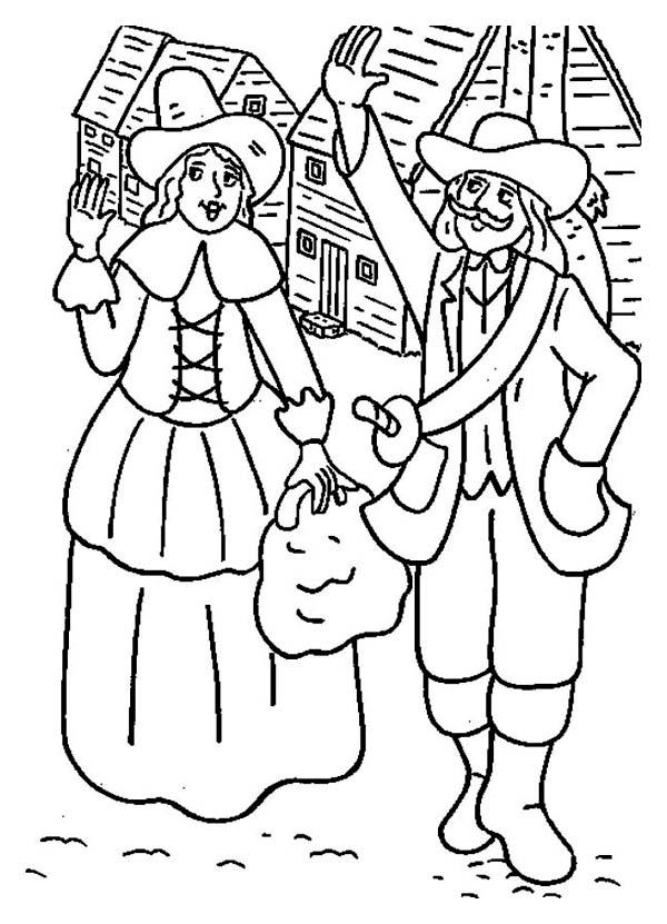 First Pilgrim Settlers Celebrating