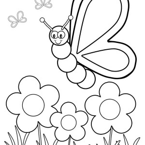 Friendly Butterfly in the Garden Coloring Page