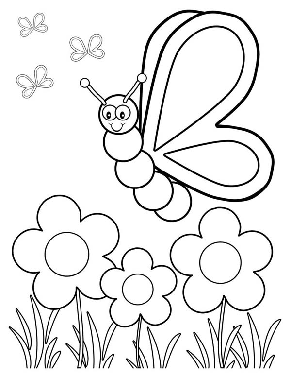 butterfly friendly butterfly in the garden coloring page friendly butterfly in the garden coloring - Garden Coloring Pages