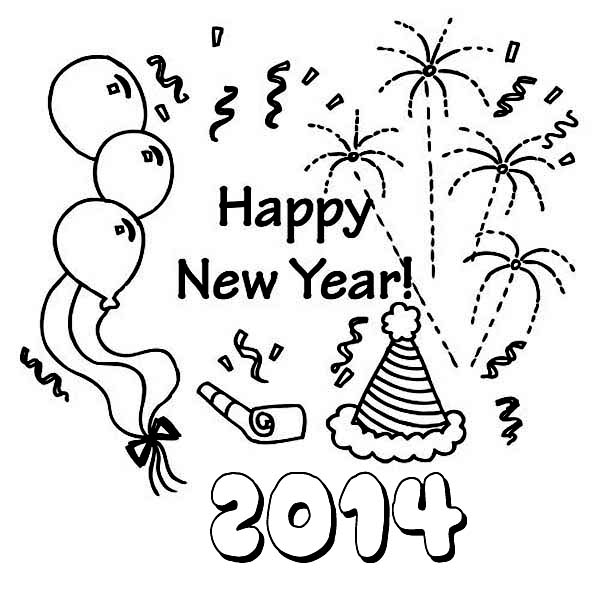 new years coloring pages 2014 - new years eve coloring pages 2014