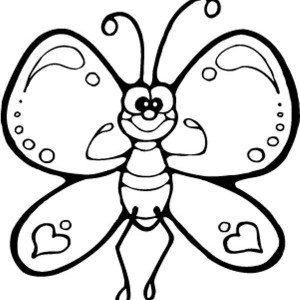Funny Cartton Butterfly Being Strong Coloring Page