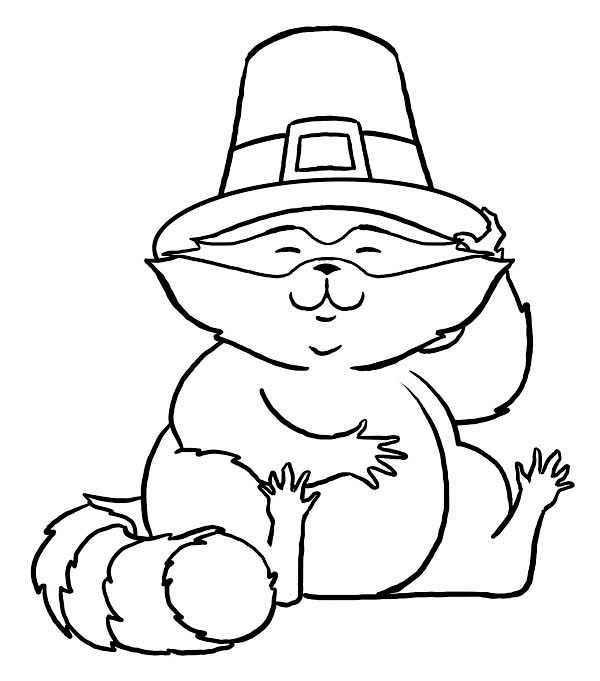 Funny Cat Wearing Pilgrim Hat on Thanksgiving Day Coloring Page