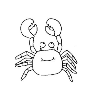 Funny Crab with Big Smile    Sea Animals Line Art