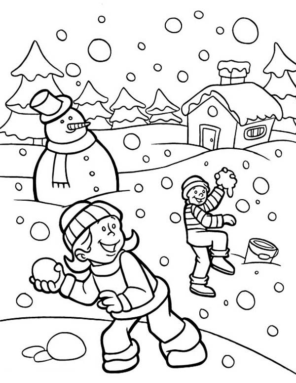Funny Snownall Fights During Heavy Snow on Winter Coloring Page