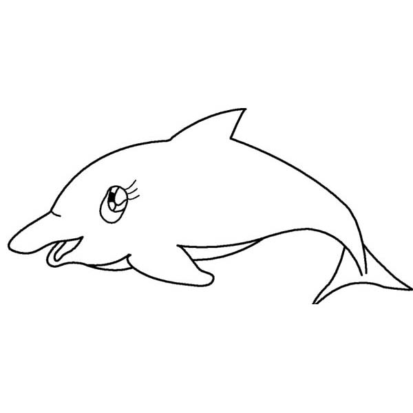 Sea Animals Girly Dolphin Free Coloring Page