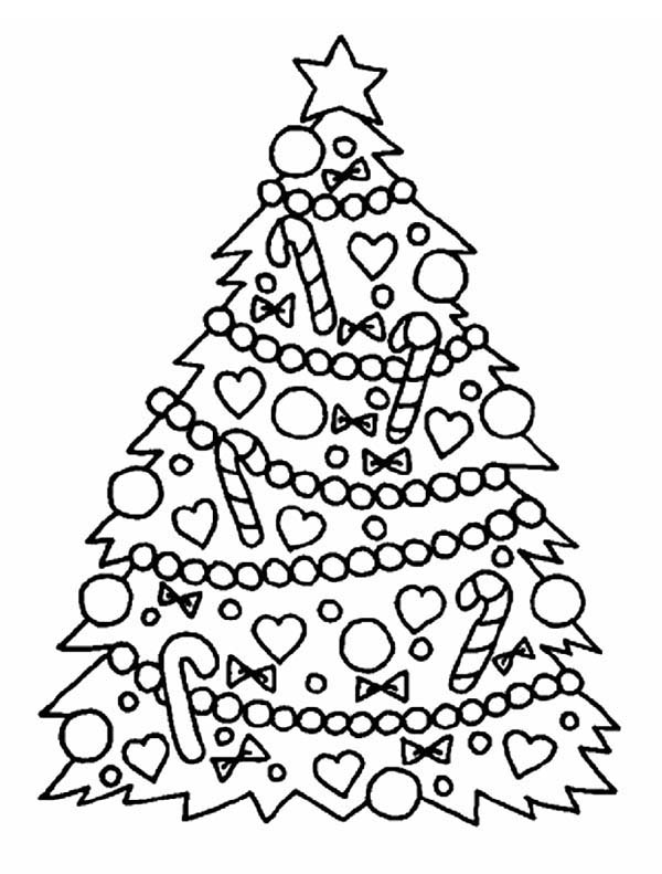 Christmas Gorgeous Tree For Coloring Page