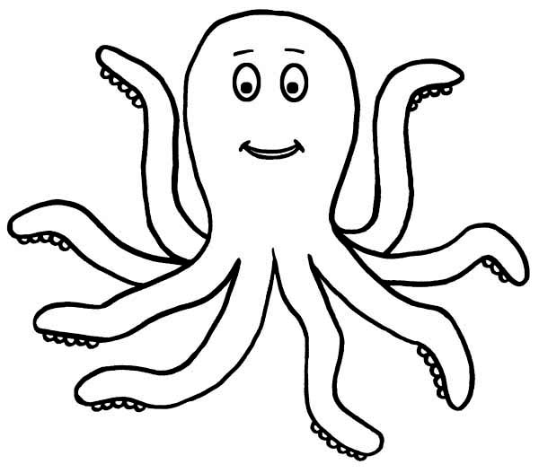 Happy 7 legged Octopus Sea Animals Coloring Page Download