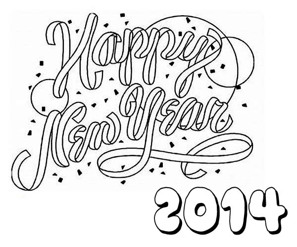 New Year, : Happy New Year 2014 to You Coloring Page