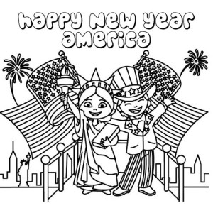 Happy New Year America Coloring Page