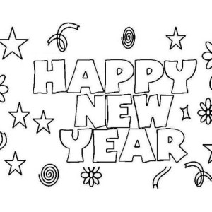 Happy New Year to Everyone Coloring Page