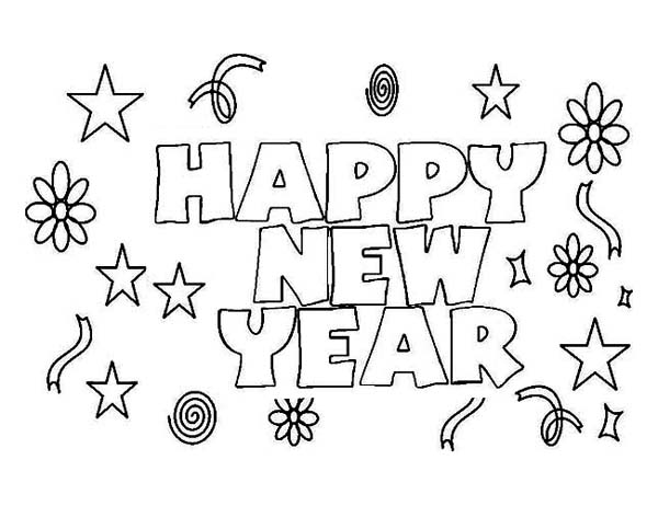 Happy New Year to Everyone Coloring Page Happy New Year to