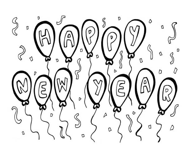 Happy new years decoration with balloons coloring page