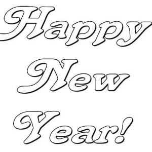 Happy New Years Party Decoration Coloring Page