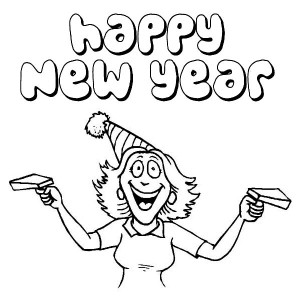 Happy New Years to All Says the Women Coloring Page