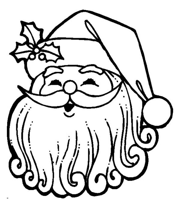 Happy Santa with Curly Beard Coloring Page Download Print
