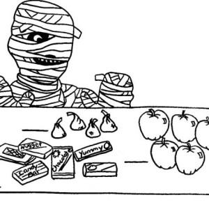 How does the mummy can eat all these candies funny coloring page