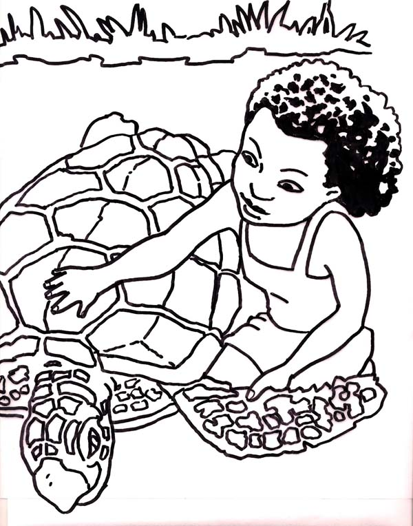 Kid Rescue a Sea Turtle Coloring Page - Download & Print Online ...