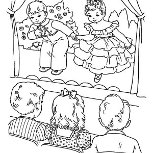 Kids Playing Drama on Winter School Performing Coloring Page