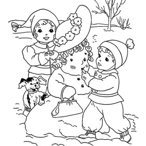 Kids Putting Make Up On Mr Snowman Winter Coloring Page