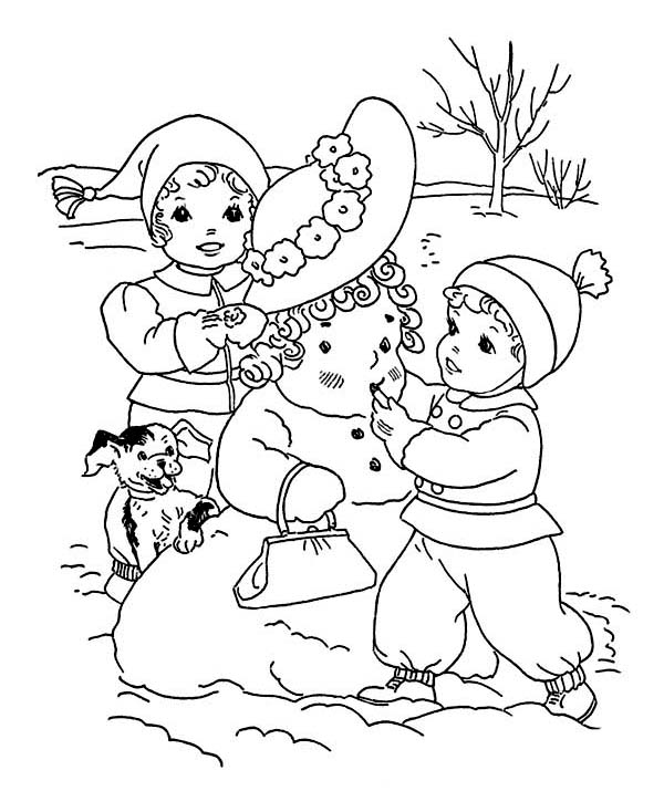 Kids Putting Make Up on Mr Snowman on Winter Coloring Page