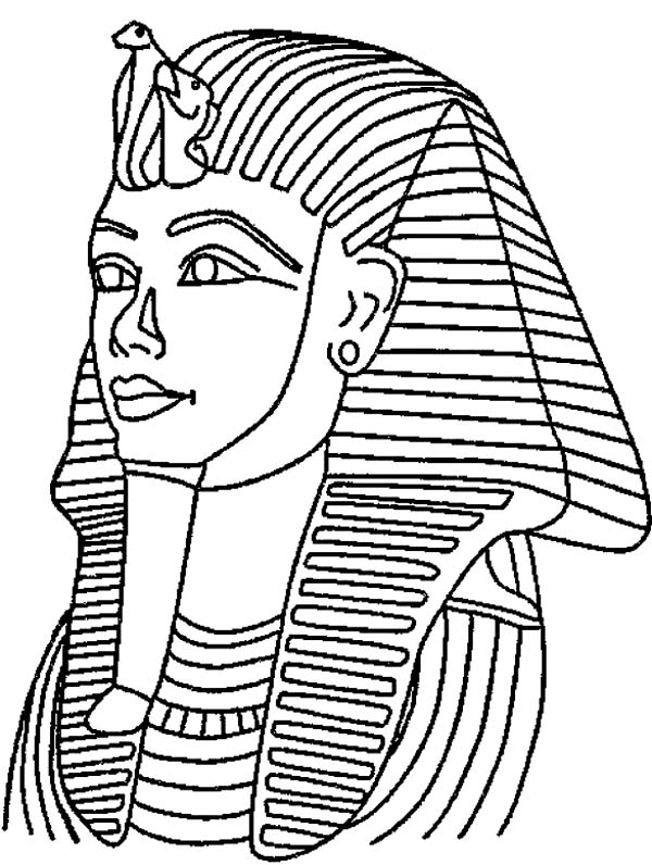 King Tut Mask Mummy Free Coloring Page Download Print Online