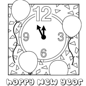 Last Minute of New Years Countdown Coloring Page