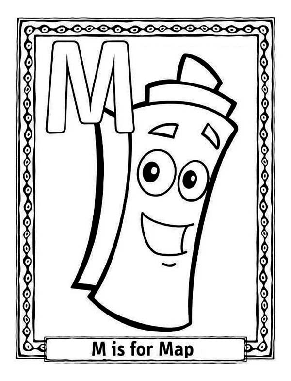Letter M For Dora Map Coloring Page