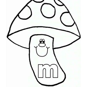 Letter M for Funny Mushroom Coloring Page