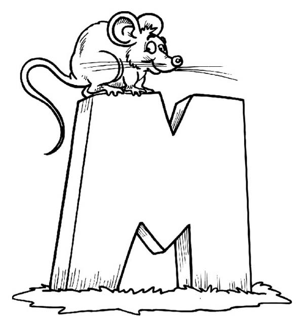 Letter M for Little Mouse Coloring Page - Download & Print Online ...