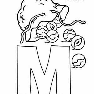 Letter M for Marbles Coloring Page