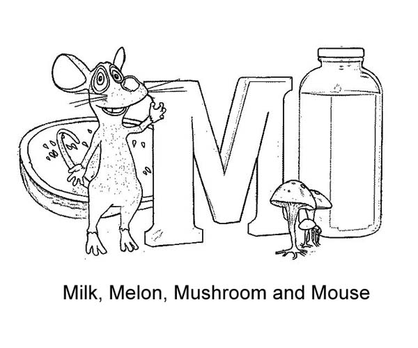 Letter M for Milk Melon Mushroom
