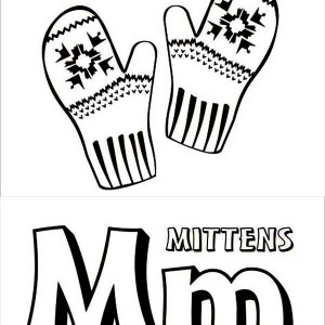 Letter M for Mitten Coloring Page