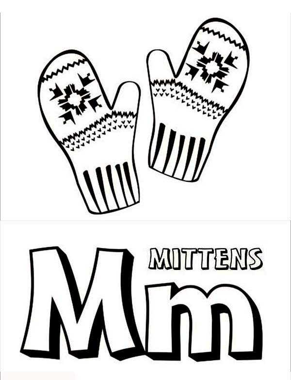 Mitten Color Pages M for mitten coloring page
