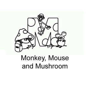 Letter M for Monkey Mouse and Mushroom Coloring Page