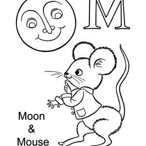 Letter M for Moon and Mouse Coloring Page