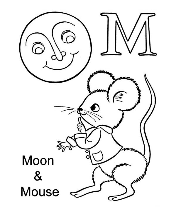 m letter m for moon and mouse coloring page letter m for moon and