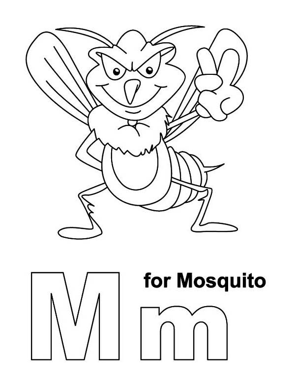 Letter M For Mosquito Coloring Page