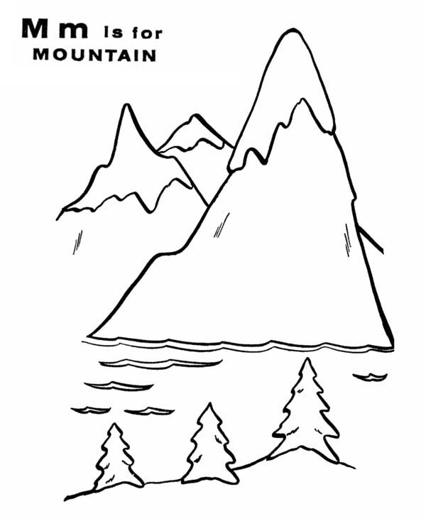 letter m for mountain and it scenery coloring page