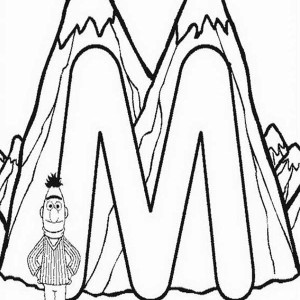 Letter M for Mountain says Bert Coloring Page