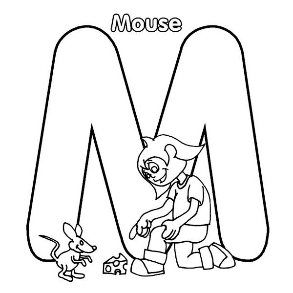 letter m for mouse and little kid coloring page - Little Kid Coloring Pages