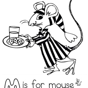 Letter M for Mouse in Pajamas Coloring Page