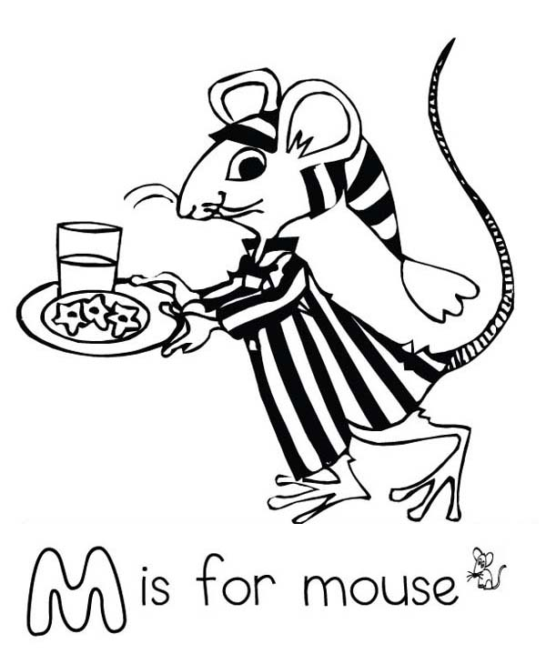 Letter M for Mouse in Pajamas Coloring Page - Download & Print ...
