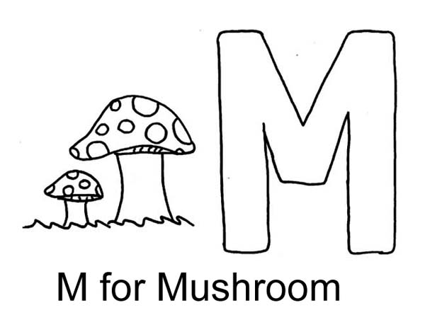 Letter M for Mushroom Coloring Page Download Print Online