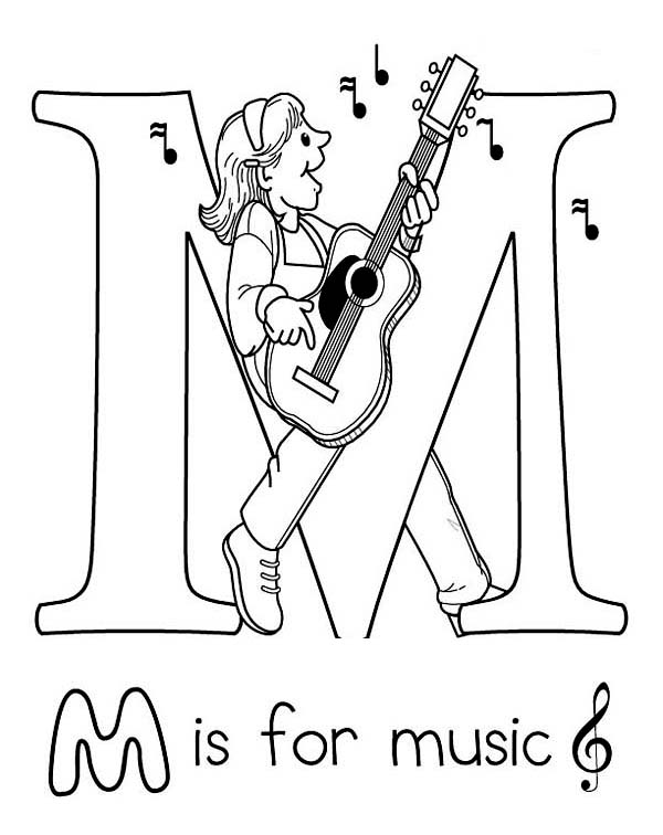 Musical Alphabet Coloring Pages : Free coloring pages letter m stylish