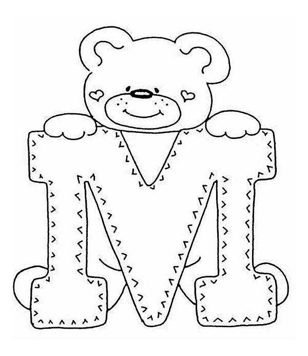 Letter M with Cute Teddy Bear Coloring Page Letter M with Cute