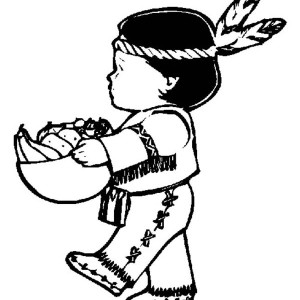 Little Indian Boy Holding Corn Bowl on Thanksgiving Day Coloring Page